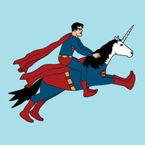 Superman riding Superunicorn, 8x8 print