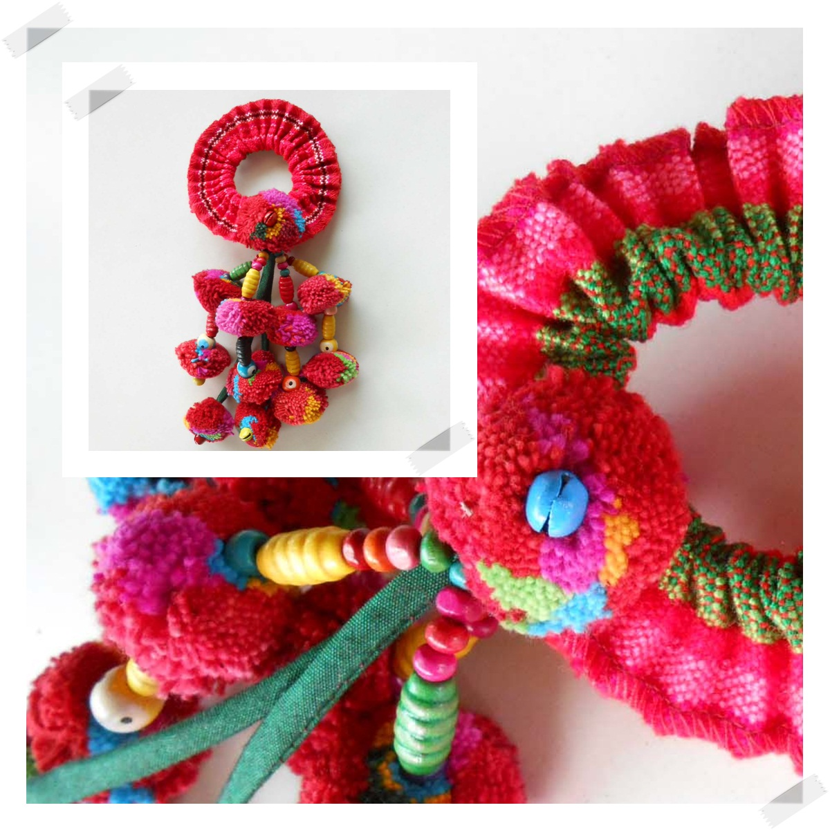 Colorful Ethnic Ponytail Tribal Hair Accessory Pom Poms Thailand