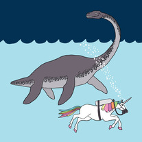 Loch ness monster and unicorn swimming buddies, 8x8 print