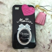 New Bling Crystal Sparkle Black Miss Dior iPhone 4/4S Case