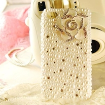 New Bling Crystal Sparkle White Camellia Flower All Pearls Rhinestones iPhone 4/4S Case