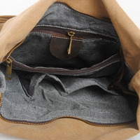 leather shoulder strap canvas shoulder bags for women - Thumbnail 4