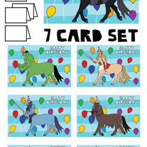 Centaurs Happy Birthday 7 card set
