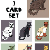Cat dressed as Star Wars Blank (no text) 7 card set