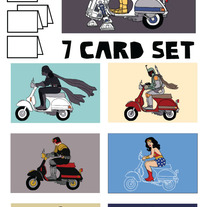 On Vespas Blank (no text) 7 card set