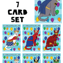 Cats Dressed as Comics Congrats 7 card set