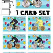 Coin wheeled bikes Congrats 7 card set