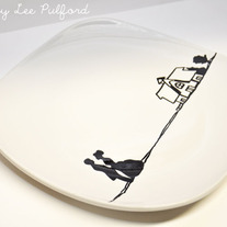 Hand Painted Porcelain Square Round Edge Plate, Once Upon a Time Silhouette Travel Wedding Illustration