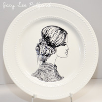 Hand Painted Modern White Double Dotted Porcelain Plate, Fashion Illustration, As She Loves