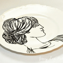 Hand Painted Vintage Plate, Fashion Illustration, The Goddess