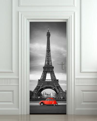 Wall door sticker eiffel tower red car mural decole film for Eiffel tower wall mural ikea