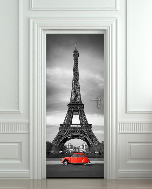 Wall door sticker eiffel tower red car mural decole film for Eiffel tower mural