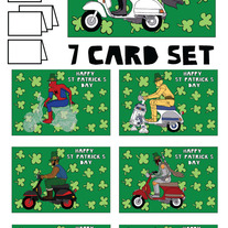 On Vespas St patricks 7 card set