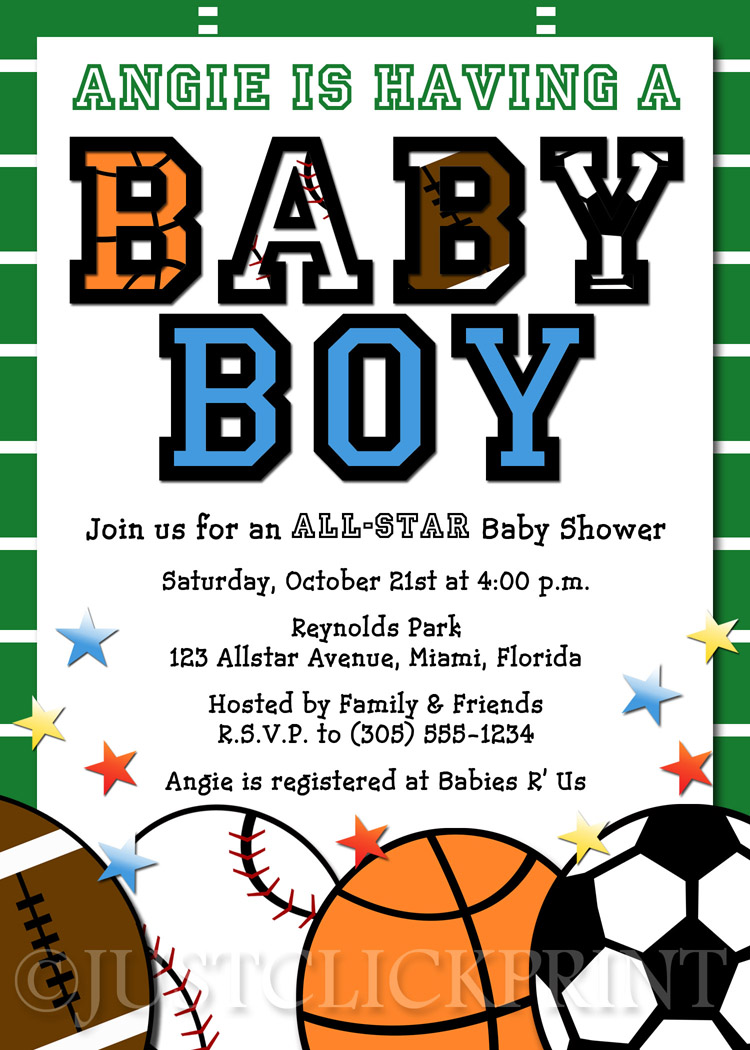 All Star Sports Baby Boy Shower Invitation Printable ...