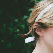 Beaded and Pearl Bridal Tie Headband or Halo