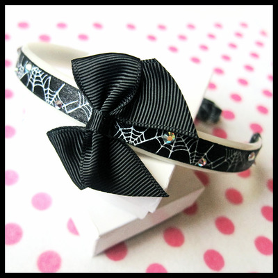 Spider webs crosses and rhinestones ribbon candy headband