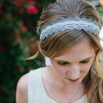 Silver Rhinestone and Lace Bridal / Wedding Tie Headband or Halo