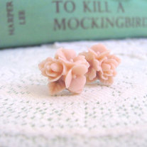 Pale Dusty Pink Flower Cluster Earrings