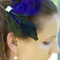 Violet Peacock Fascinator with Rhinestone Center - Thumbnail 1