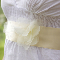 Bridal Sash with Organza and Tulle Flowers  - Thumbnail 2