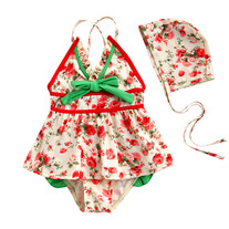 Shabby Chic Floral Vintage Inspired Baby Toddler Girl Swimsuit Swimwear