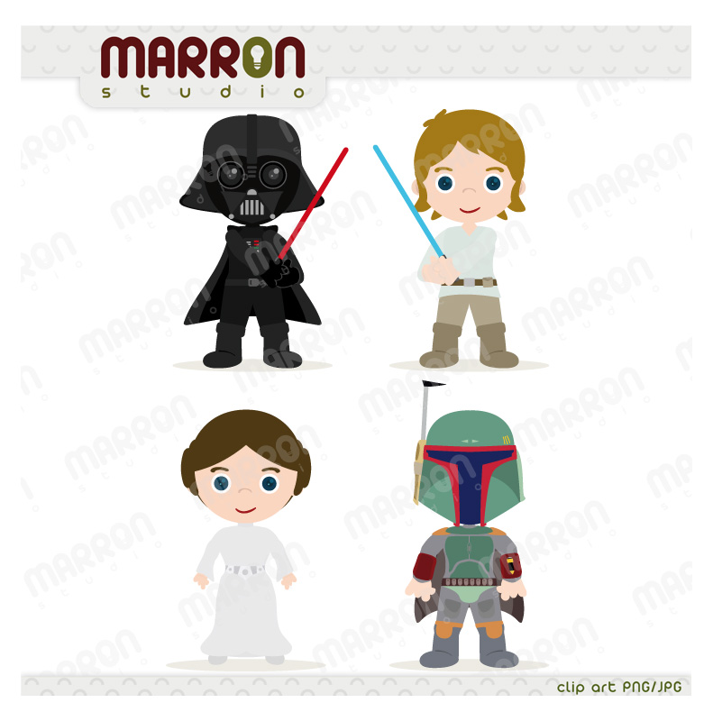 ... Darth Vader, Luke Skywalker, Princess Leia, Boba Fett Clip Art