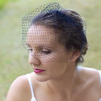 Black Birdcage Veil with Smoke Swarovski Crystals  - Thumbnail 2
