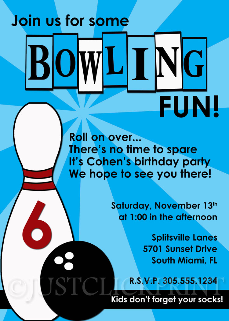 Boys Retro Bowling Fun Birthday Invitation Just Click Print