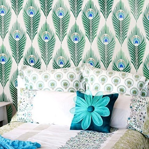 Peacock Feather Allover Stencil - Reusable wall stencils for easy DIY ...