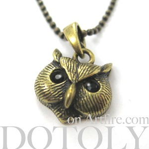 ONE DOLLAR SALE - Owl Bird Animal Charm Necklace in Bronze