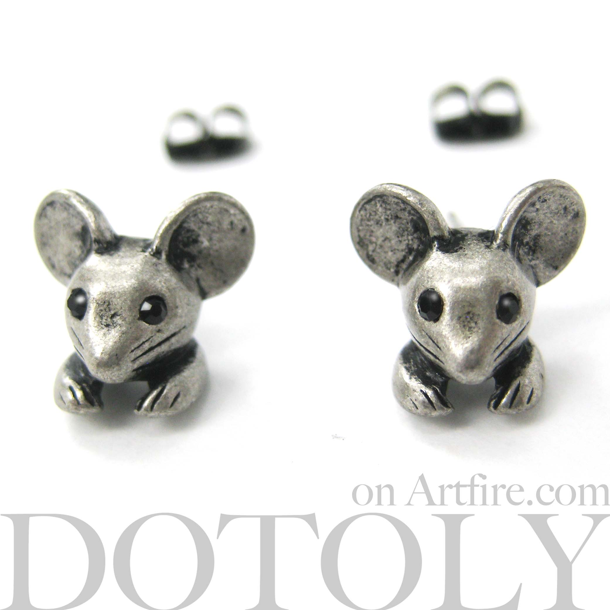 miniature mouse animal stud earrings in silver 183 dotoly