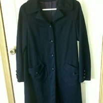 Mary Lane Long Navy Blue Coat Sz 10