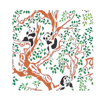Panda Bears on The Tree Forest Branches Kids room decor Designer Stencil Pattern for Walls Decor - Thumbnail 2