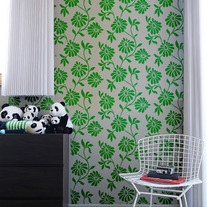 Leaf and Flower Allover Pattern Wall Stencil Home Decor