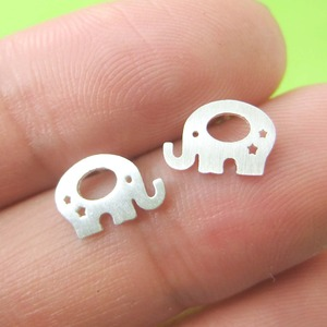 Baby Elephant Silhouette Shaped Stud Earrings in Silver With Star Cut Outs
