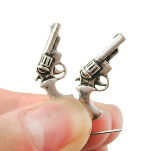 Detailed Revolver Gun Pistol Shaped Small Dangle Stud Earrings in Silver