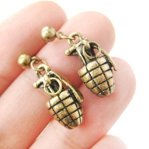Detailed Bomb Grenade Ammo Shaped Dangle Stud Earrings in Bronze