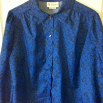Lady Manhattan Blue Blouse Sz 14
