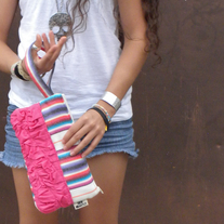 RUFFLED TRIBAL WRISTLET IN PINK