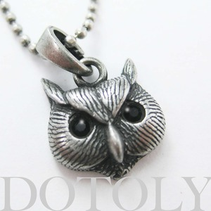 ONE DOLLAR SALE - Owl Bird Animal Charm Necklace in Silver