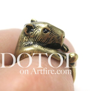 3D Capybara Wombat Gerbil Hamster Animal Ring in Bronze - Sizes 5 to 9