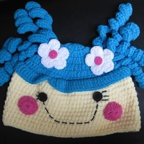 LalaLoopsy Doll Character Girls Crochet Winter Hat Cap Beanie Blue Hair Fluff N Stuff