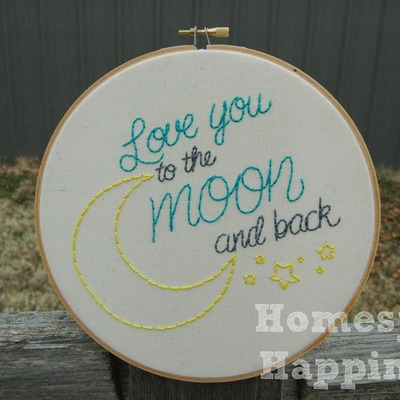 Love you to the moon and back - 8 inch hoop art