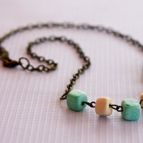 Mint and Off-White Candy Colored Square Wood Beads Necklace
