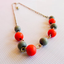 Coral and Ash Round Wood Beads Necklace