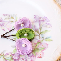 Lilac and Lime - Set of 3 Flower Bobby Pins