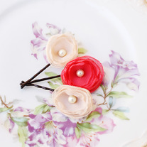 Champagne and Bright Coral - Set of 3 Flower Bobby Pins