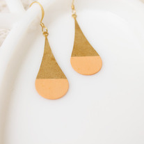 Peach Round Color Dipped Brass Earrings