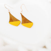 Golden Yellow Color Dipped Brass Dangle Earrings