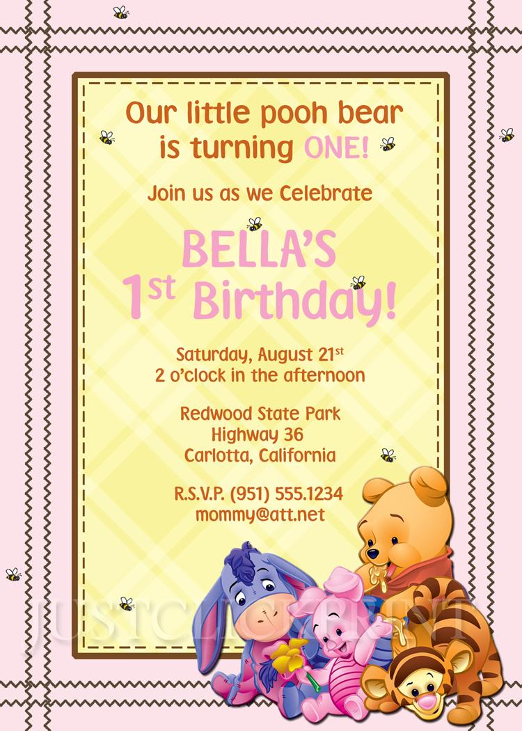 Winnie Pooh Friends Birthday Invitation Printable